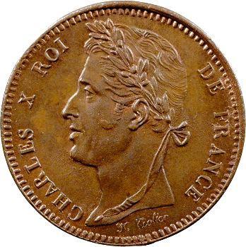 Charles X, essai monétaire au module 10 centimes Louis XIII, s.d. Paris