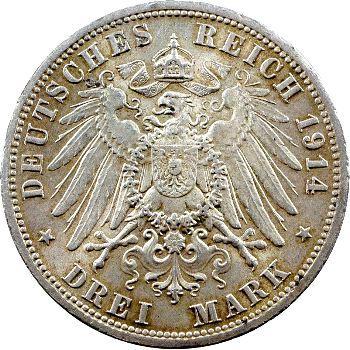 Allemagne, Anhalt (duché de), Frédéric II, 3 mark d'hommage, 1914 Berlin