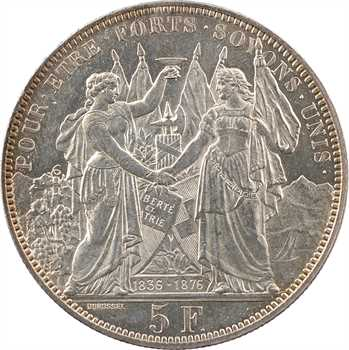 Suisse, Vaud, Lausanne, 5 francs de tir, 1876