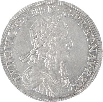 Louis XIII, demi-écu d'argent, 3e type (2e poinçon), 1643 Paris (rose)