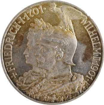 Allemagne, Prusse (royaume de), Guillaume II, 5 mark d'hommage, 1901 Berlin