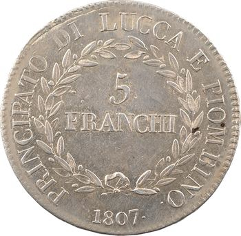 Italie, Lucques et Piombino, 5 franchi, 1807 Florence