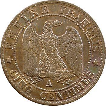 Second Empire, cinq centimes tête laurée, 1865 Paris