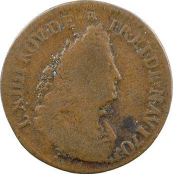 Louis XIV, liard de cuivre 3e type, 1707 Lille