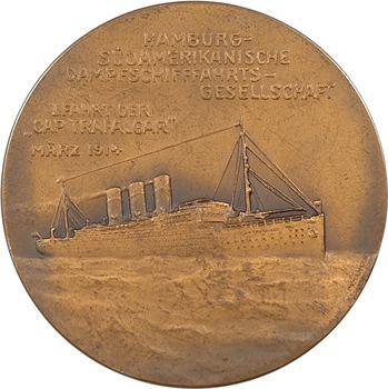 Allemagne, Henri de Prusse, traversée de l'Atlantique à bord du Cap Trafalgar, par Hansen, 1914