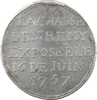 Reims, jeton, la châsse de Saint Remi exposée, 1757
