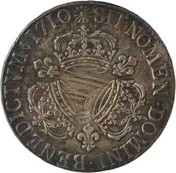 Louis XIV, écu aux trois couronnes, 1710 Reims