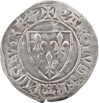 Charles VI, blanc guénar 2e émission, Troyes (S tourmentées)
