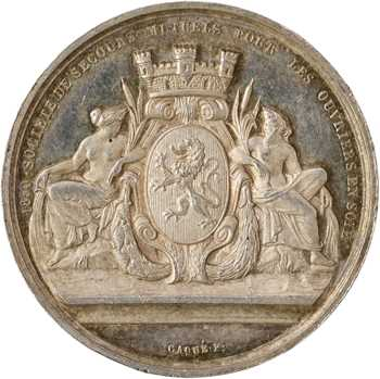 IIe République, fondation des caisses de secours mutuels pour les ouvriers en soie de Lyon, par Caqué, 1850 Paris