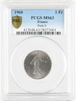 Ve République, 1 franc Semeuse, 1960 Paris petit 0, PCGS MS63
