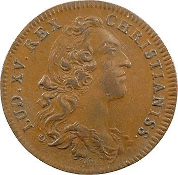 Louis XV, jeton cuivre des colonies françaises de l'Amérique, 1755