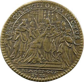 Louis XV, jeton du sacre en laiton, 1722 Nuremberg