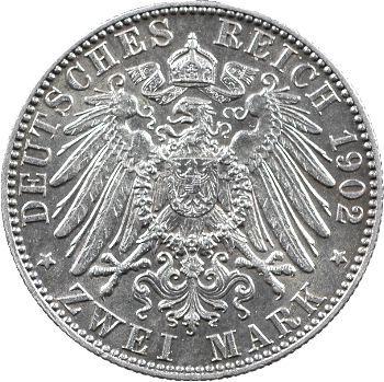 Allemagne, Saxe (royaume de), Albert, 2 mark d'hommage, 1902 Dresde