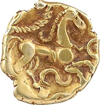Suessiones, quart de statère au petit serpent cornu (et à l'ancre), c.65-35 av. J.-C