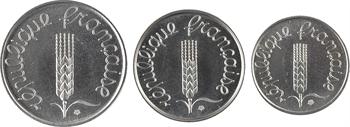 Ve République, étui avec 3 essais 1, 2 et 5 centimes épi, 1961 Paris
