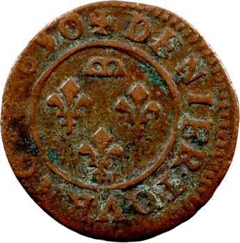 Dombes (principauté de), Gaston d'Orléans, denier tournois type 9, 1650 Trévoux