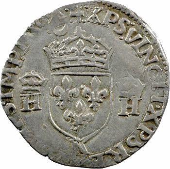 François II, demi-teston au nom d'Henri II, à la tête nue, 1559 Bordeaux