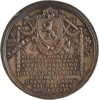 Pays-Bas, la paix de Fontainebleau célébrée à Zierikzee, par De Meyer, 1786