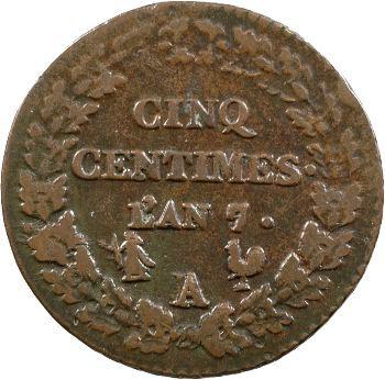 Le Directoire, cinq centimes Dupré, An 7/5 Paris sur Orléans