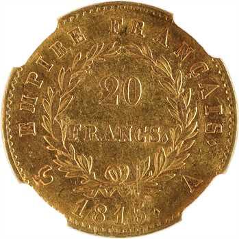 Cent-Jours, 20 Francs Empire, 1815 Paris, NGC AU55