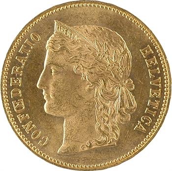Suisse, Confédération helvétique, 20 francs, 1891 Berne