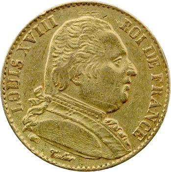 Louis XVIII, 20 francs buste habillé, 1814 Perpignan