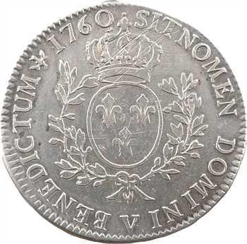 Louis XV, écu au bandeau, 1760 Troyes