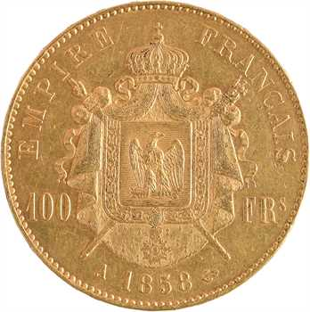 Second Empire, 100 francs tête nue, 1858 Paris