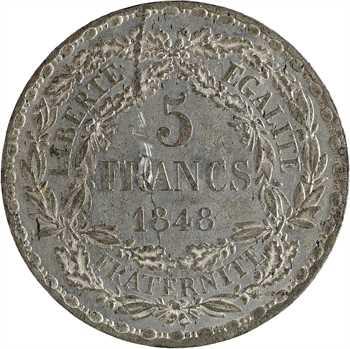 IIe République, concours de 5 francs par Bovy, 1848 Paris