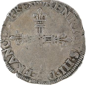 Henri III, quart d'écu croix de face, 158[9?] Amiens