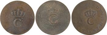 Colonies françaises, Louis XVI, lot de 3 sols tampés, 1779-1797