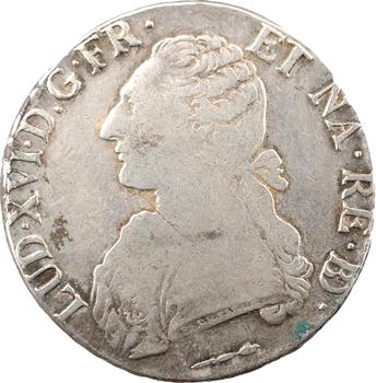 Louis XVI, écu aux branches d'olivier du Béarn, tranche fautée AAAAA, 1785 Pau