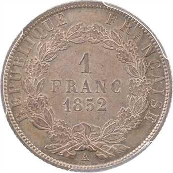 IIe République, 1 franc LNB, 1852 Paris, PCGS MS63