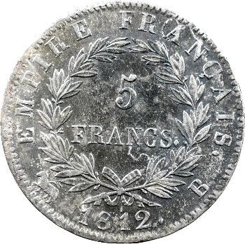 Premier Empire, 5 francs Empire, 1812 Rouen