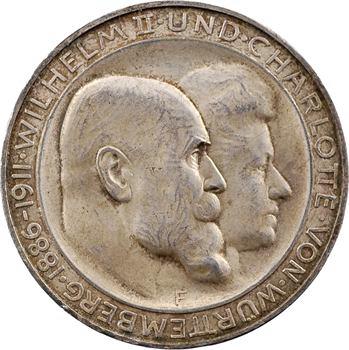 Allemagne, Wurtemberg (royaume de), Guillaume II, 3 mark d'hommage, 1911 Stuttgart