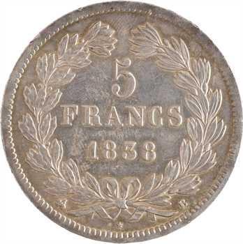 Louis-Philippe Ier, 5 francs IIe type Domard, 1838 Rouen