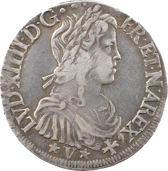 Louis XIV, écu de Navarre à la mèche longue, 1653 Saint-Palais