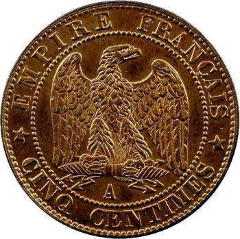 Second Empire, cinq centimes tête nue, 1857 Paris
