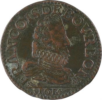 Château-Regnault (principauté de), François de Bourbon, liard 3e type, 1614 Château-Regnault