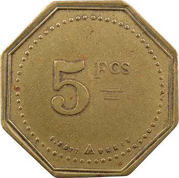 Algérie, Philippeville, jeton de maison close, Le Moulin Rouge, 5 francs, s.d (type 3)