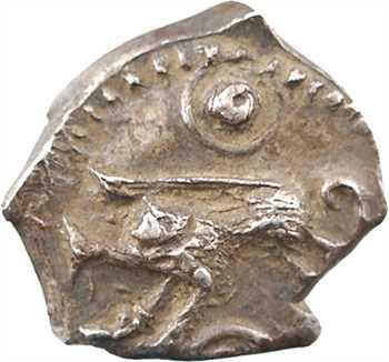 Rutènes, drachme à la petite tête bouclée et au sanglier, flan avec deux empreintes du coin au droit, c.121-52 av. J.-C