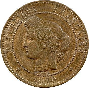 Gvt de Défense nationale, 10 centimes Cérès, 1870 Paris