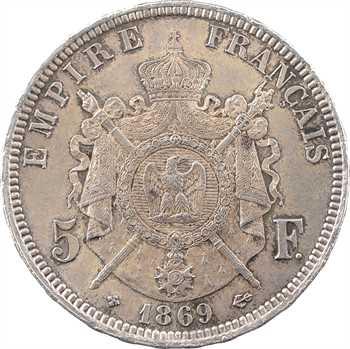 Second Empire, 5 francs tête laurée, 1869 Strasbourg
