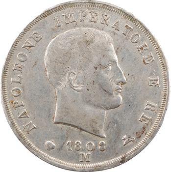 Italie, Napoléon Ier, 5 lire tranche en creux, 1808 Milan