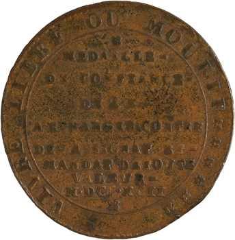 Constitution, 2 sols de Clémanson, An IV, 1792 Lyon
