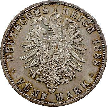 Allemagne, Prusse (royaume de), Frédéric III, 5 mark, 1888 Berlin