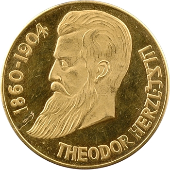 Israël, Theodor Herzl, médaille en or, 1948 PROOF