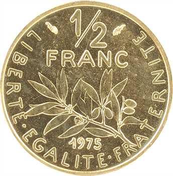 Ve République, piéfort de 1/2 franc Semeuse en or, 1975 Pessac, PCGS SP68