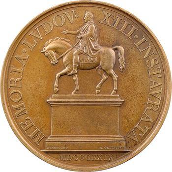 Charles X et Louis XVIII, statue équestre de Louis XIII, par Gatteaux, 1829 Paris