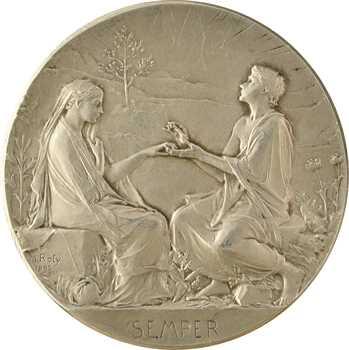 Roty (L.-O.) : Semper, médaille de mariage en argent, 1899 Paris